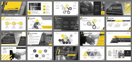 Illustration for Yellow, white and black infographic design elements for presentation slide templates. Business and workflow concept can be used for corporate report, advertising, leaflet layout and poster design. - Royalty Free Image