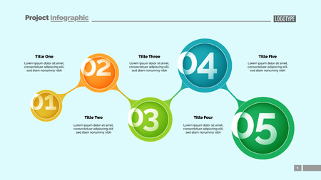 Ilustración de Five steps process chart slide template. Business data. Option, step, design. Creative concept for infographic, presentation, report. Can be used for topics like marketing, teamwork, workflow. - Imagen libre de derechos