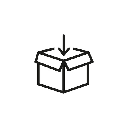 Illustration pour Packing parcel line icon. Unboxing, container, post. Distribution concept. Vector illustration can be used for topics like shipping, delivery, mail - image libre de droit