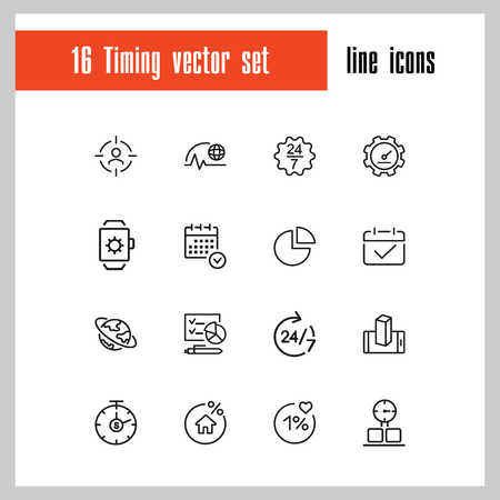 Illustration pour Timing icons. Set of line icons. All the day, deadline, schedule. Time management concept. Vector illustration can be used for topics like business, management, efficiency - image libre de droit