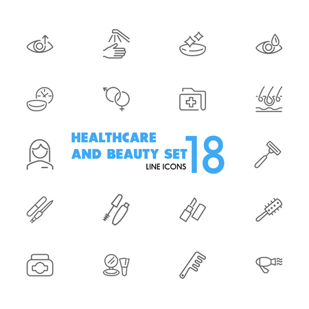 Illustration pour Healthcare and beauty icons. Set of line icons. Woman, cosmetics, hairdressing. Healthcare and beauty concept. Vector illustration can be used for topics like eye sight, make up, beauty salon. - image libre de droit
