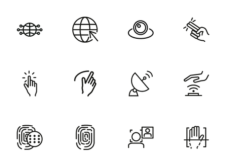 Ilustración de Radio connection icons. Set of line icons on white background. Hand, Morse alphabet, signal. Connection concept. Vector illustration can be used for topics like communication, social media, security - Imagen libre de derechos