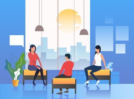 Illustration pour Psychologist conducting therapy with patients. Session, consultancy, counseling. Meeting concept. Vector illustration can be used for topics like business, psychology, corporate - image libre de droit