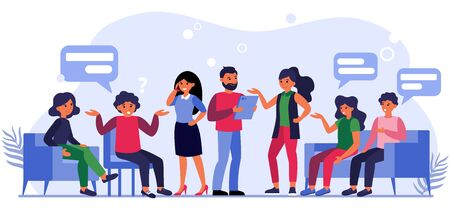Illustrazione per People asking questions to businesspeople. Clients sitting in lobby and talking to managers flat vector illustration. Client work concept for banner, website design or landing web page - Immagini Royalty Free