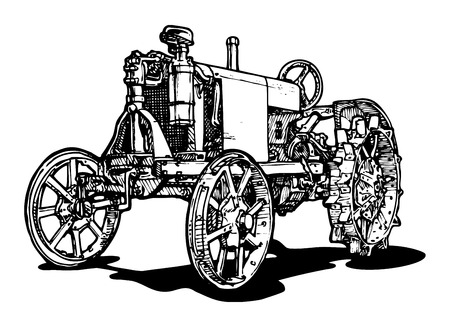 Illustration pour Vector drawing of tractor stylized as engraving  - image libre de droit