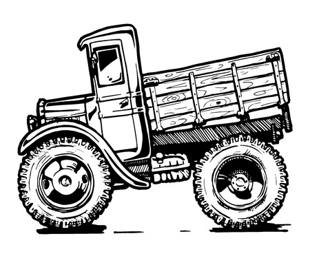 Illustration for  black and white illustration of retro lorry stylized as engraving. - Royalty Free Image
