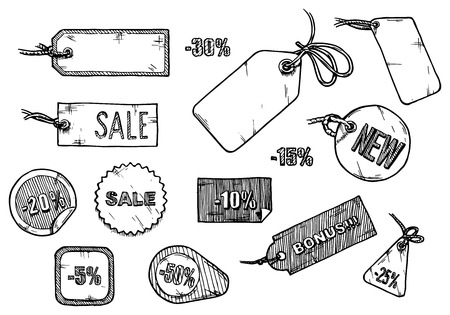 Ilustración de Vector illustration of sale labels set stylized as engraving. - Imagen libre de derechos