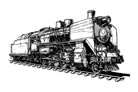 Illustration pour illustration of a old steam locomotive stylized as engraving - image libre de droit
