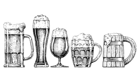 Illustration for Vector set of beer glasses and mugs in ink hand drawn style. isolated on white. - Royalty Free Image