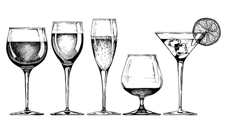 Photo pour Vector set of glasses goblets in ink hand drawn style. isolated on white. - image libre de droit