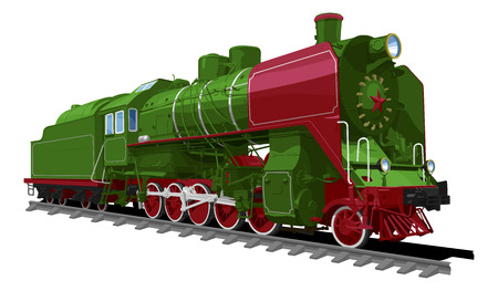 Illustration pour illustration of a old steam locomotive isolated on white background. Solid fill only, no gradients. Locomotive of the Soviet Union. - image libre de droit