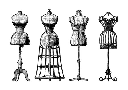 Illustration for Vector black and white hand drawn illustration of mannequins set in vintage engraved style. - Royalty Free Image