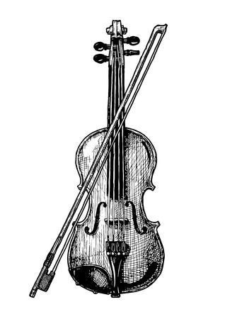 Illustration pour A vector hand drawn illustration of classical acoustic violin with bow in vintage engraved style. isolated on white background. - image libre de droit