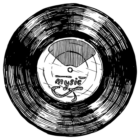 Illustration pour Vector hand drawn sketch of Vinyl record in ink hand drawn style. isolated on white. - image libre de droit