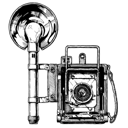 Illustration for Press camera with optional rangefinder and attached bulb flash. Vector hand drawn sketch of retro photocamera in vintage engraved style on white background. - Royalty Free Image