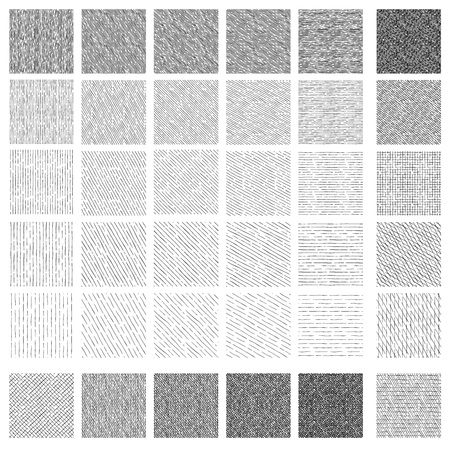 Illustration for 36 Seamless pattern of ink hand drawn linear hatching and crosshatching textures. Texture has 5 different shades and 5 different angles: vertical, 30, 45 and 60 degrees, horizontal. - Royalty Free Image