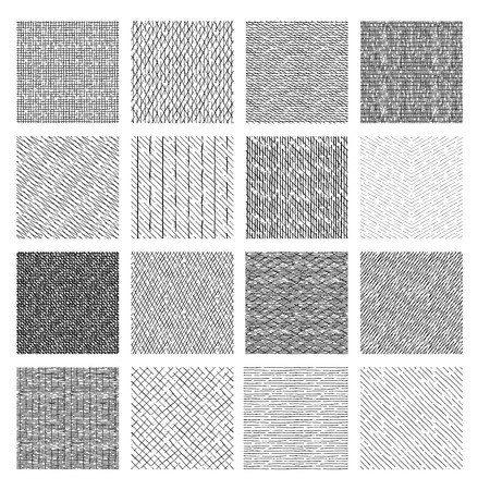 Illustration pour 16 Seamless pattern of ink hand drawn linear hatching and crosshatching textures. vector illustration - image libre de droit