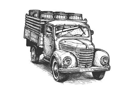 Ilustración de Vector hand drawn illustration of vintage truck with wood barrels. - Imagen libre de derechos