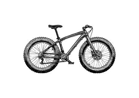 Illustration pour Fat bike Vector ink hand drawn illustration of off-road bicycle in vintage engraved style. - image libre de droit