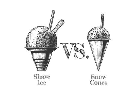 Illustration pour Shave ice vs. Snow Cones. Vector hand drawn illustration in vintage engraved style. Isolated on white background. - image libre de droit