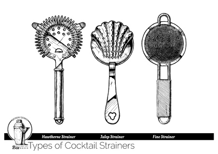 Ilustración de Types of cocktail strainers. Hawthorne, Julep and fine mesh strainer. Vector hand drawn illustration of bartending equipment in vintage engraved style. isolated on white background. - Imagen libre de derechos