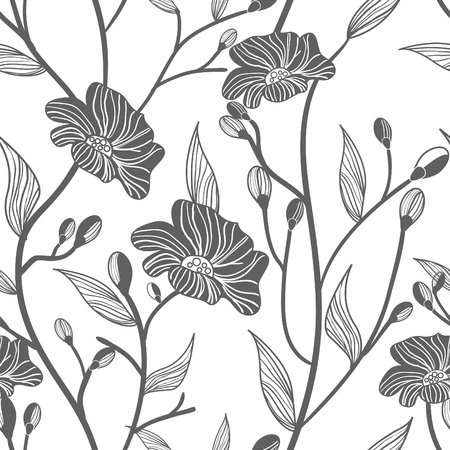 Abstract light vector  background with drawing gray flowers mural