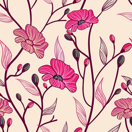 Vector seamless texture with red drawing flowers mural