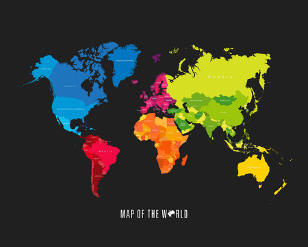 Illustration pour World map with different colored continents - Illustration - image libre de droit
