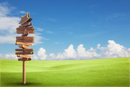 Photo pour Wooden sign on the green field with blue sky - image libre de droit