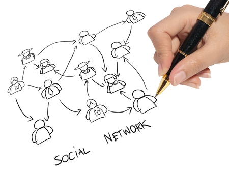business man drawing a social network
