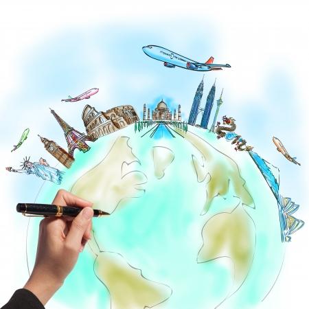 Foto de drawing the dream travel around the world in a whiteboard - Imagen libre de derechos
