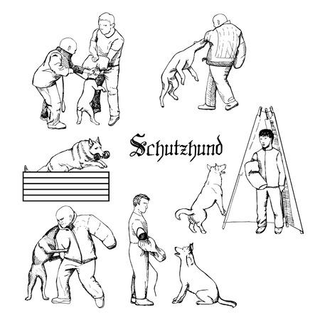 Ilustración de Hand drawn dog trainers in action. Dog sport equipment. - Imagen libre de derechos