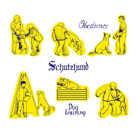 Ilustración de Schutzhund training sketches. Men train dogs. - Imagen libre de derechos
