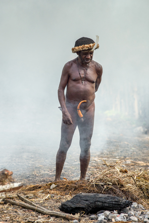 Photo for BALIEM VALLEY, WEST PAPUA, INDONESIA, JUNE 4, 2016: Dugum Dani tribe village. Man of Dugum Dani tribe cooks food, uses an earthoven method of cooking pig. West Papua. New Guinea Island - Royalty Free Image