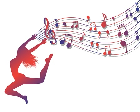 Illustration pour Female silhouette jumping. Woman holding a musical lineup with notes and treble clef - image libre de droit