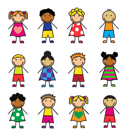 Cartoon children of different nationalities on a white background