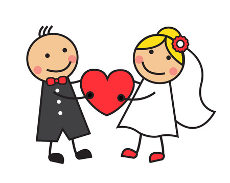 Illustration for Cartoon bride and groom are holding heart   - Royalty Free Image