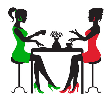 Ilustración de silhouette two women drinking coffee at a table on a white background - Imagen libre de derechos