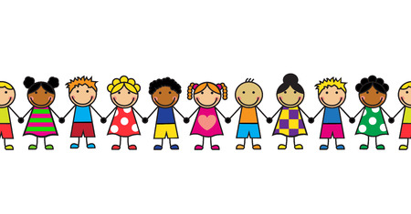 Illustration pour horizontal seamless Cartoon children standing in a row  - image libre de droit
