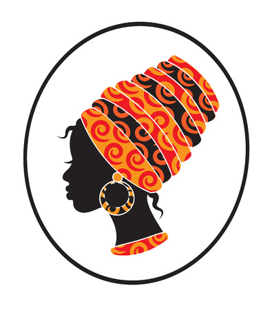 Illustration pour African girls face with a scarf on her head in profile - image libre de droit