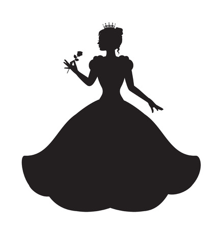 Illustration pour princess silhouette in long lush dress holding a rose - image libre de droit