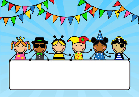 Illustration pour Cartoon children in carnival costumes hold a poster   - image libre de droit