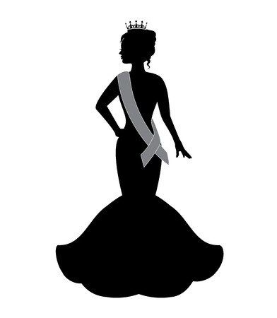 Illustration pour silhouette of a beauty queen wearing a crown and an evening dress - image libre de droit