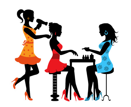 Illustration pour Woman in a beauty salon with a Manicurist and hairdresser - image libre de droit