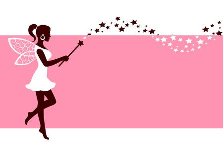 Ilustración de Silhouette graceful fairies with wings and a magic wand on a pink background - Imagen libre de derechos