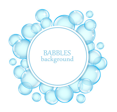 Illustration pour Round background with shiny soap bubbles and space for text - image libre de droit
