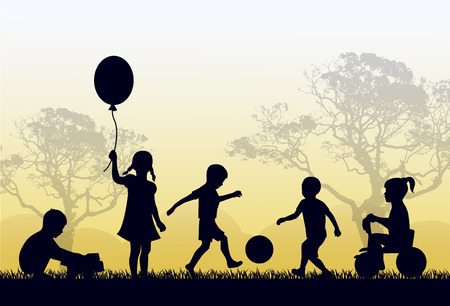 Ilustración de Silhouettes of children playing outside in the grass and trees - Imagen libre de derechos