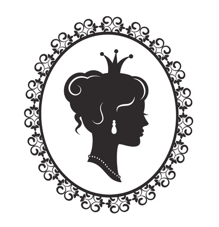 Silhouette of a beautiful princess in the profile in the old-fashioned patterned frame on a white background