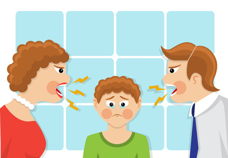 Ilustración de Parents scream and scold the child. The child was crying and upset. The conflict of generations and family quarrel. illustration - Imagen libre de derechos