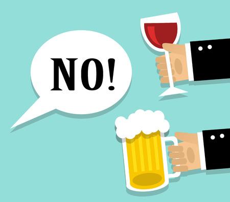 Ilustración de Hands stretch a cup of wine and beer. Man refuses alcohol - Imagen libre de derechos